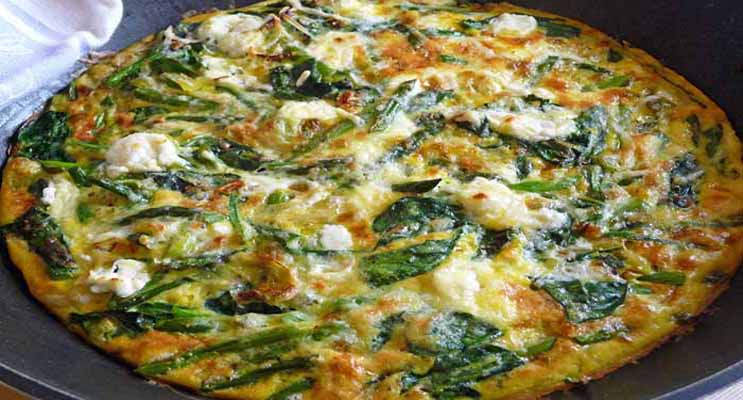 Asparagus and Baby Spinach Frittata