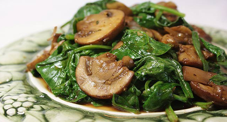 Collard Greens Braised with Mushrooms